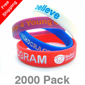 2000 Infilled Silicone Wristbands
