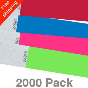 2000 Plain Tyvek Wristbands