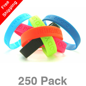 250 Debossed Silicone Wristbands