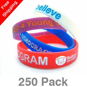 250 Infilled Silicone Wristbands