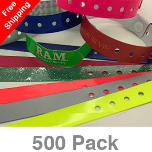 500 Custom Plastic Wristbands