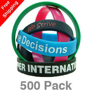 500 Printed Silicone Wristbands