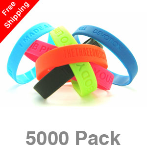 5000 Debossed Silicone Wristbands